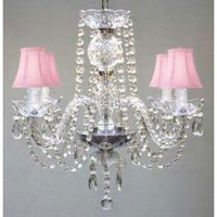 """All Crystal Chandelier  With Pink Shades H17"""" X W17"""" Swag Plug-In Chandelier"""