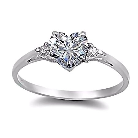 Cassie: 0.81ct Heart Cut Russian Ice on Fire CZ Promise Friendship Ring sz 4.0
