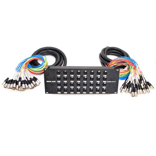 Seismic Audio XLR TRS Rack Splitter Snake Cable - 16, 24, 32 Channel - 15' + 15' or 15' + 30' - SARMSS-Series