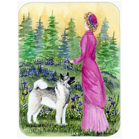 Caroline's Treasures Lady with Her Norwegian Elkhound Glass Cutting Board