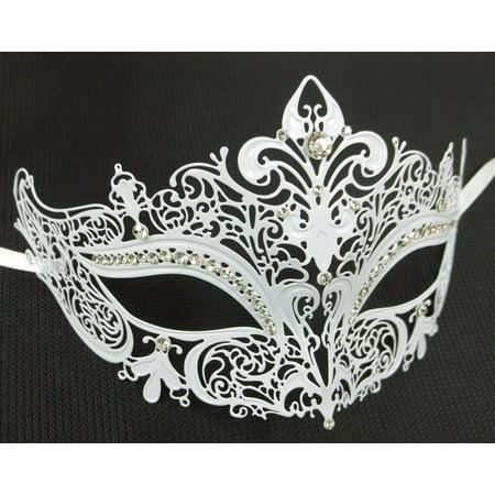 White Crystal Crown Laser Cut Venetian Mask Masquerade Metal Filigree - Heavy Metal Mask