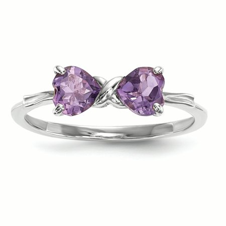 14K White Gold 5.1 MM Amethyst February Birthstone Bow Ring, Size 7