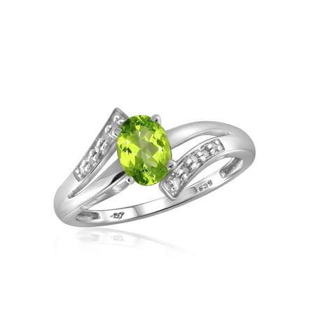 0.82 Carat T.G.W. Peridot Gemstone and 1/20 Carat White Diamond Ring Peridot Gemstone Jewelry