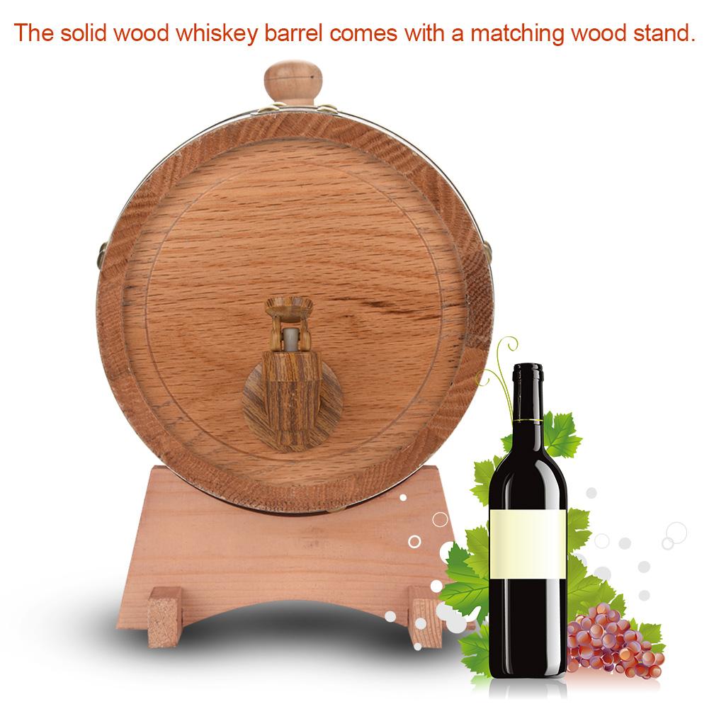 Yosoo Wood Wine Barrel,Oak Wine Barrel,3L Vintage Wood Oak Timber Wine Barrel Dispenser for Whiskey Bourbon Tequila - image 3 of 8