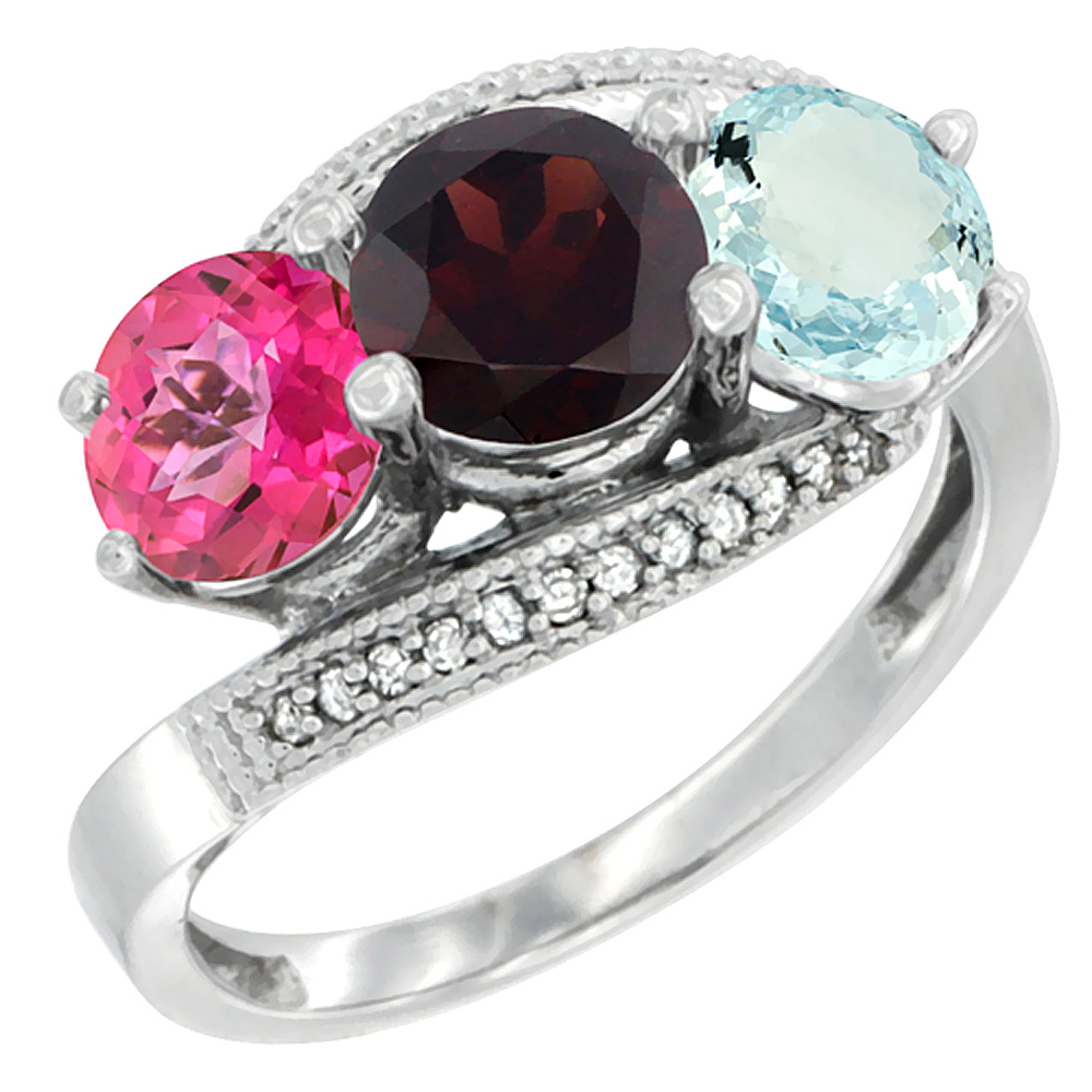 10K White Gold Natural Pink Topaz, Garnet & Aquamarine 3 stone Ring Round 6mm Diamond Accent, sizes 5 10 by WorldJewels