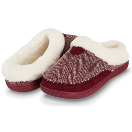 Floopi Womens Indoor Outdoor Herringbone Fur Lined Clog Slipper W/Memory Foam (M, Burgundy-312)