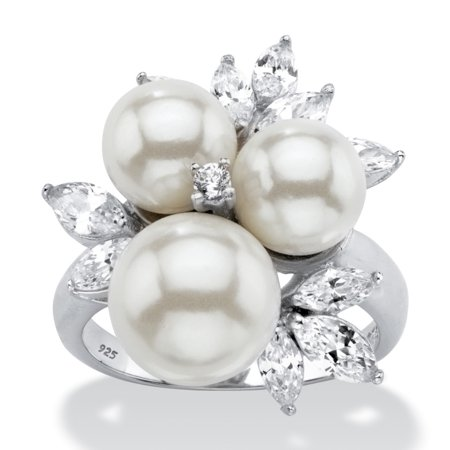 1.84 TCW Round Simulated Pearl and Cubic Zirconia Cluster Ring in Platinum over Sterling