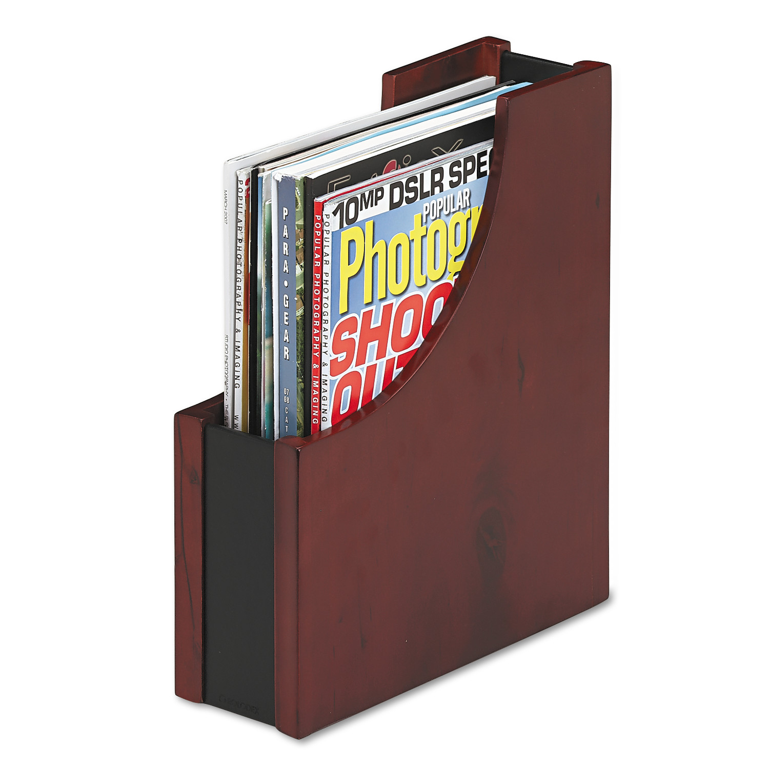 Rolodex Wood and Faux Leather Magazine File, 3 1/2 x 10 x 11 13/16, Black/Mahogany