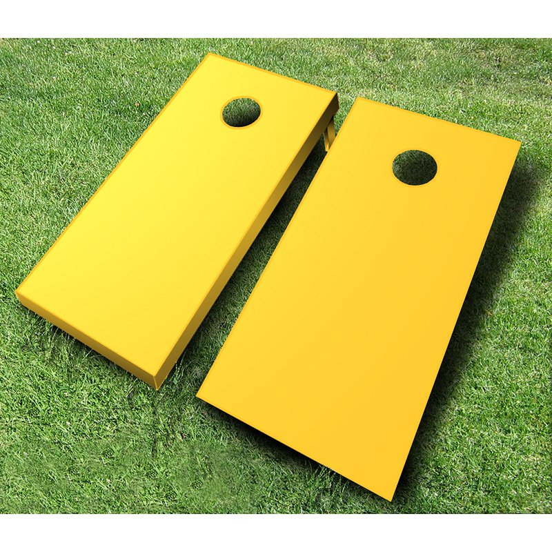 Painted Tournament Wooden Cornhole Bean Bag Toss Set - Yellow - Yellow & White