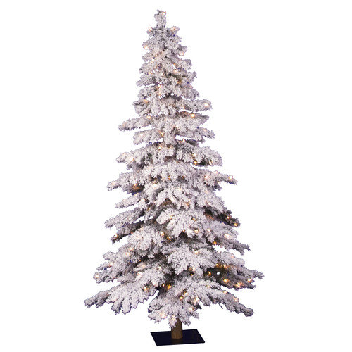 Vickerman Flocked Spruce Alpine 7' White Artificial Christmas Tree with 400 Clear Lights with Stand