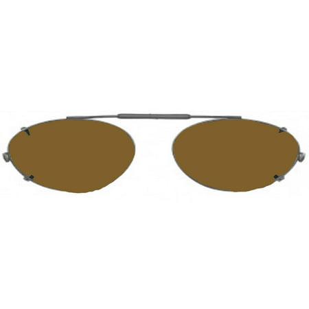 Visionaries Polarized Clip on Sunglasses - Almond - Bronze Frame - 47 x 34