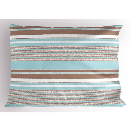 Aqua Pillow Sham Horizontal Stripes Lines Vintage Grunge Style Ocean Seem Layers Image, Decorative Standard Size Printed Pillowcase, 26 X 20 Inches, Seafoam Umber and White, by