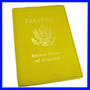 Marshal Genuine Leather Passport Holder Yellow Cover Case Travel Wallet Us Seal Gold New