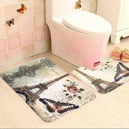 2Pcs Soft Paris Eiffel Tower Style Non-Slip Bathroom Pedestal Rug Cover + Bathroom Bath Mat Set Home Decor Christmas - Bathroom Gift