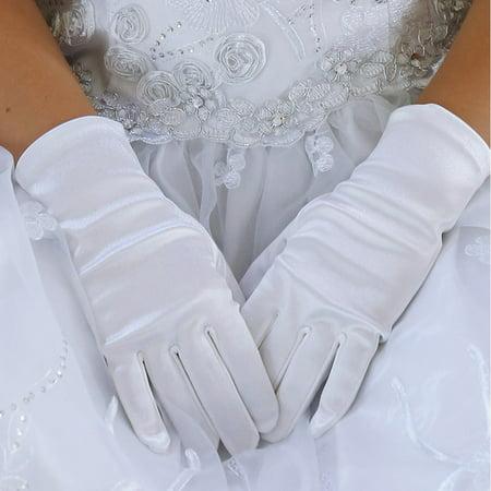 Short White Gloves (Angels Garment Little Girls White Soft Short Communion Flower Girl Gloves)