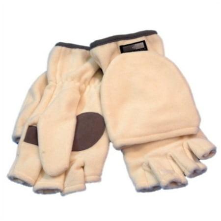 Wind Shield Women White Fleece Fingerless Gloves Convertible Mitten - Ladies Fleece Fingerless Glove