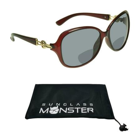 Sunglass Monster Womens BIFOCAL Reading Sunglasses Sun Readers with Oversized Sexy Transparent Red (Sunglasses With Reading Glasses)