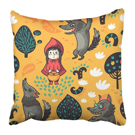 ARHOME Cute Little Red Riding Hood Wolf Animal Apple Basket Cartoon Character Child Pillow Case Cushion Cover 18x18 - Red Riding Hood And Wolf Couple Costume