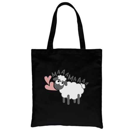 MaaaMaaa Sheep Black Heavy Cotton Canvas Bag Reusable Tote For Moms