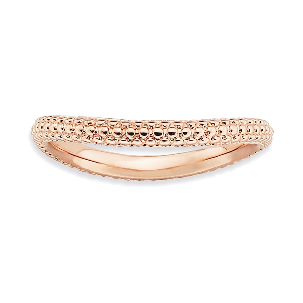 Sterling Silver Stackable Expressions Polished Pink-plate Wave Ring Size 6
