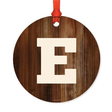 Metal Christmas Ornament, Monogram Letter E, Rustic Wood, Includes Ribbon and Gift Bag - Ribbon Letters