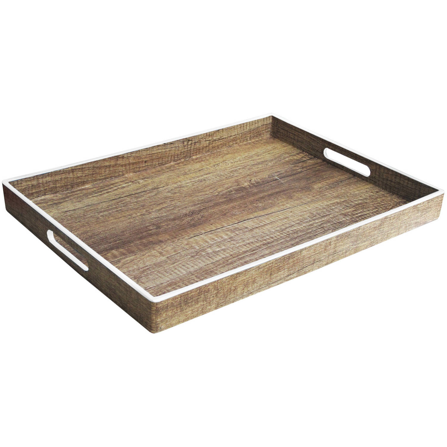 "Image of Poplar Finish Tray with White Rim, 14"" x 19"""