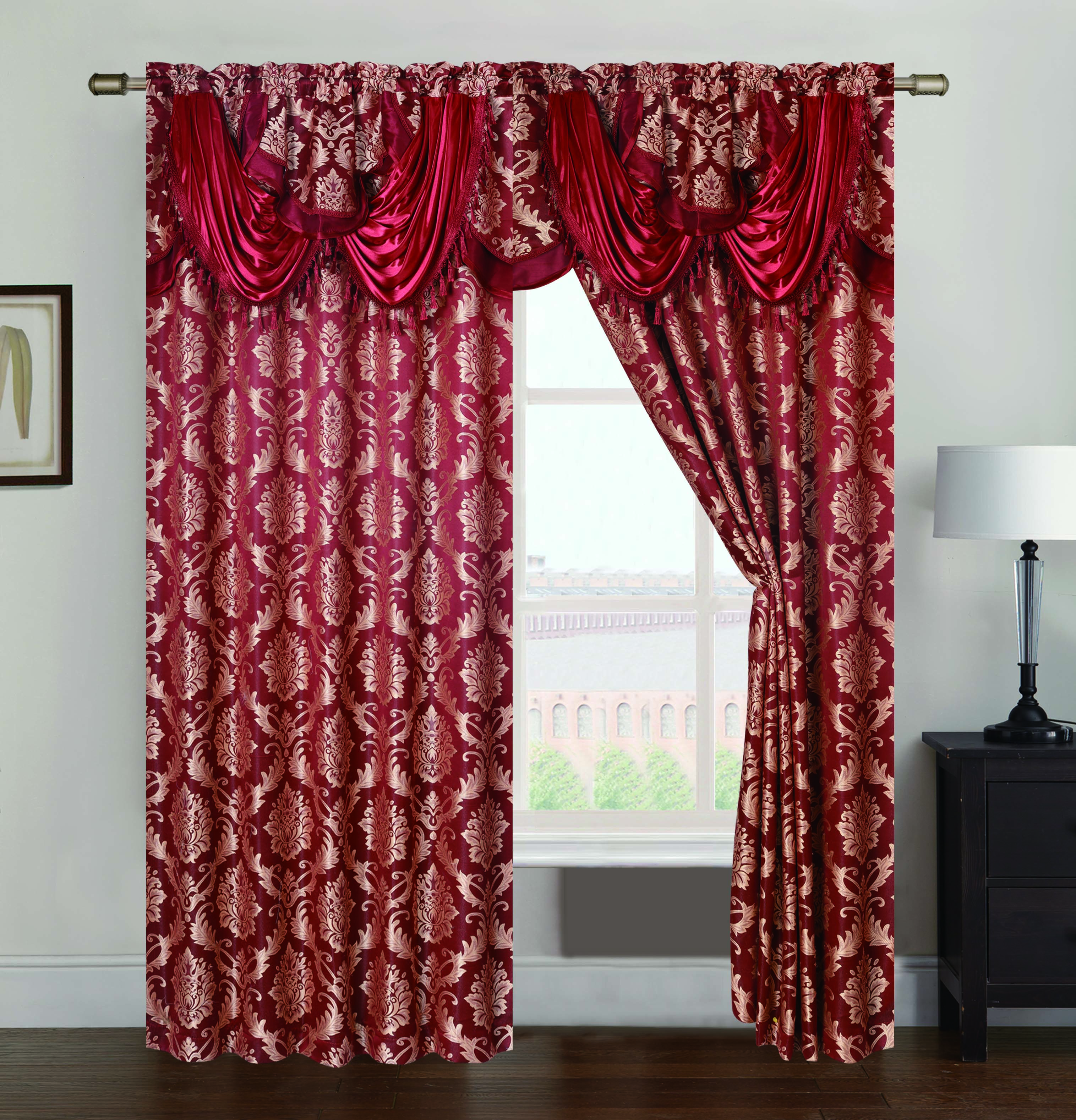 Andover Jacquard 54 x 84 in. Double Rod Pocket Curtain Panel w/ Attached 18 in. Valance, Burgundy