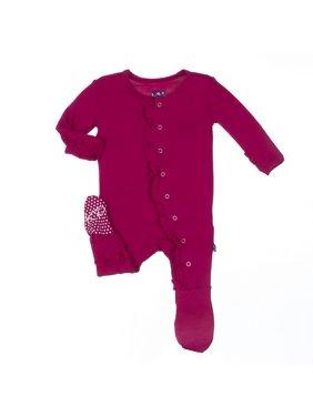KicKee Pants Baby Girls Ruffle Footie Rhododendron
