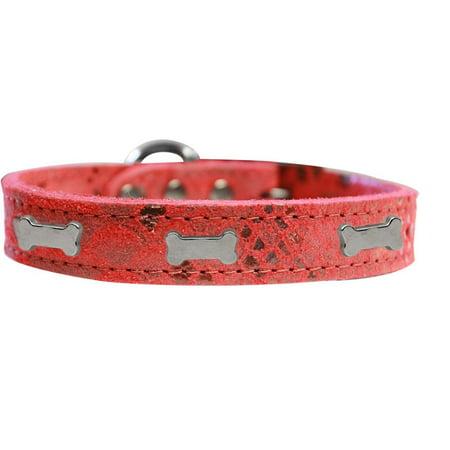 Silver Bones Leather Collar (Silver Bone Widget Dragon Skin Genuine Leather Dog Collar Red Size 10 )