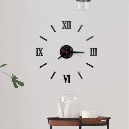 3D DIY Roman Numbers Acrylic Mirror Wall Sticker Clock Home Decor Mural Decals Roman Home Decor