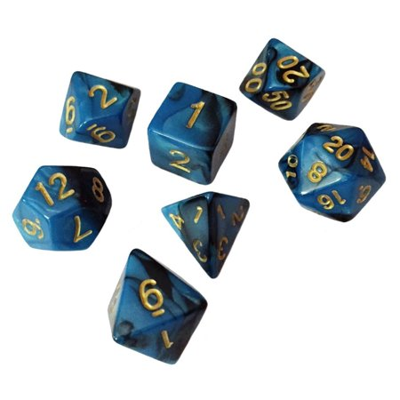 Blue and Black Swirled Color - Pack of 7 Polyhedral Dice (7 Die in Set) | Role Playing Game Dice | D4, D6, D8, D10, D%, D12, and D20 -