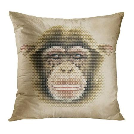 BOSDECO Colorful Monkey Portrait Made of Geometrical Shapes Vintage Chimpanzee Face Retro Geometric Life Pillow Case Pillow Cover 18x18 inch - image 1 de 1
