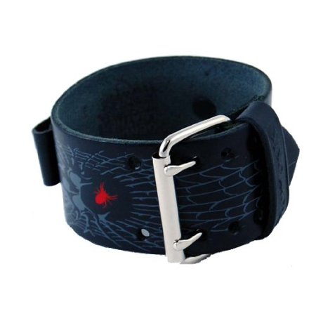 SP-W Wide Black Leather Cuff Tattoo Imprinted Band