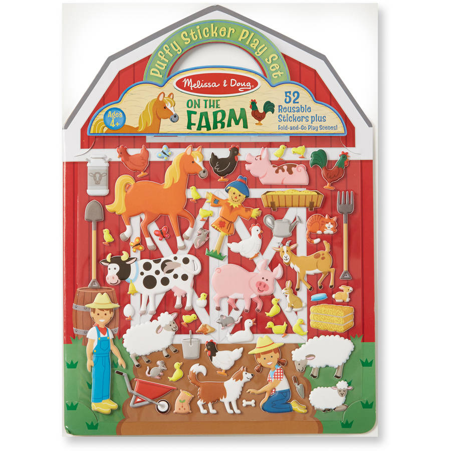 Melissa & Doug Puffy Sticker Playset - On the Farm - 52 Reusable Stickers, 2 Fold-Out Scenes