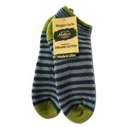 Maggie's Organics - Footie Socks, Stripe Grey/Navy 9-11