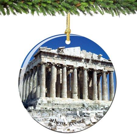 Acropolis Athens Greece Christmas Ornament Porcelain (Porcelain Christmas Ornaments)