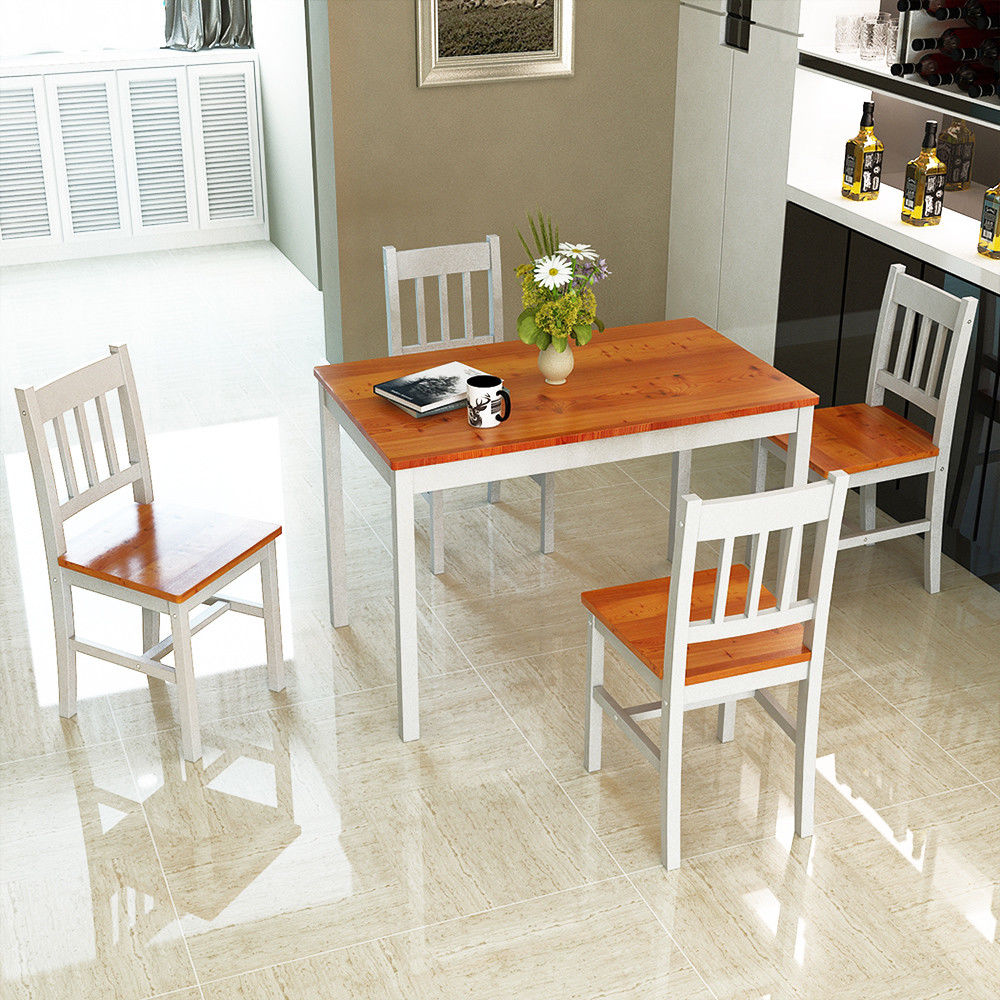 Costway 5PCS Pine Wood Dinette Dining Set Table And 4 Chairs Home Kitchen  Furniture Part 91
