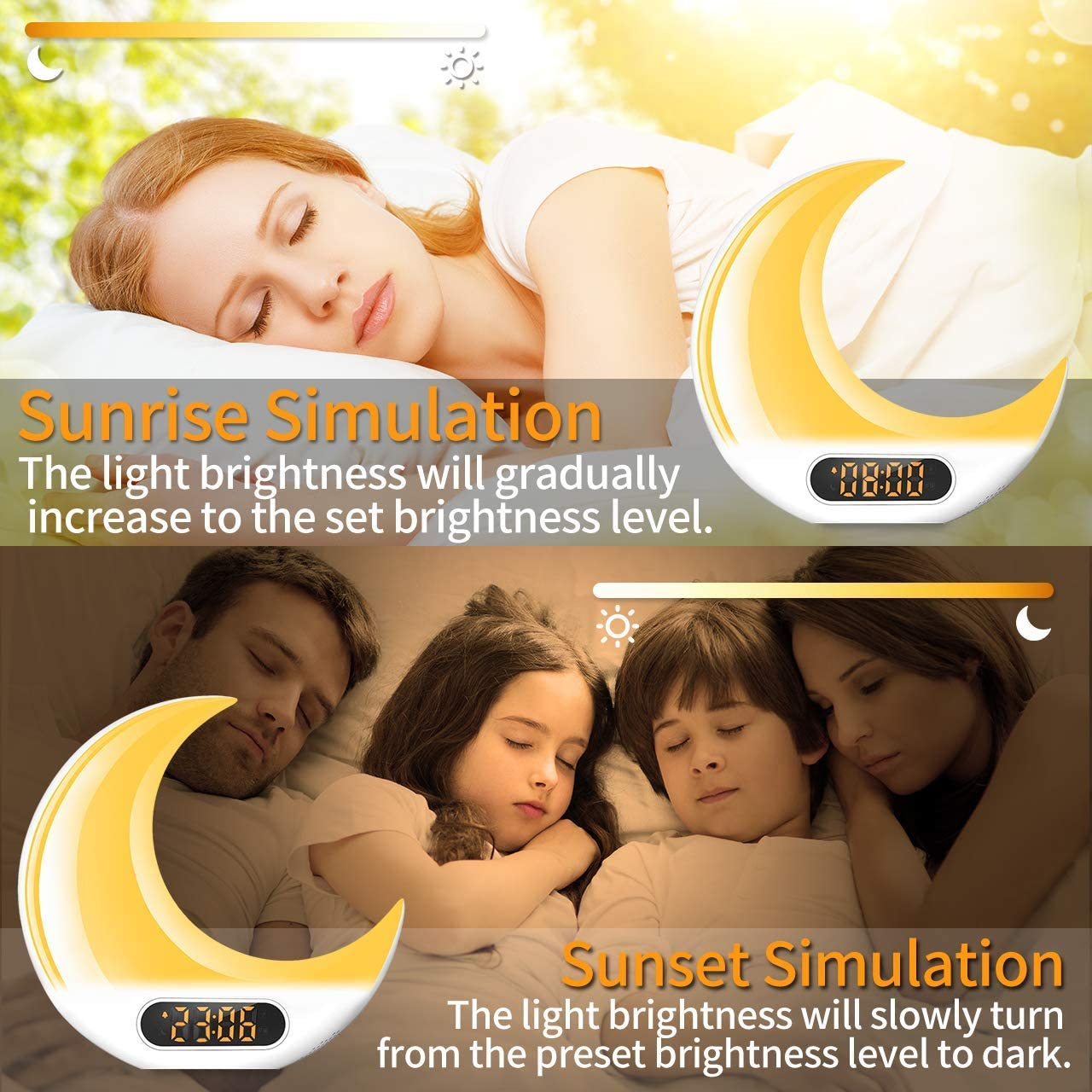 FM Radio Sunrise//Sunset Simulation Table Bedside Night Lamp with Separated Easy Operation Remote 7 Nature Sounds and Touch Control Function for Kids Elders and Adults Herphia Wake Up Light Alarm Clock