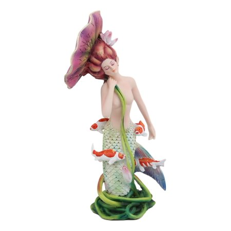Ebros Sheila Wolk Pulse of The Pond Mermaid by Flower Umbrella and Koi Fishes Statue 9