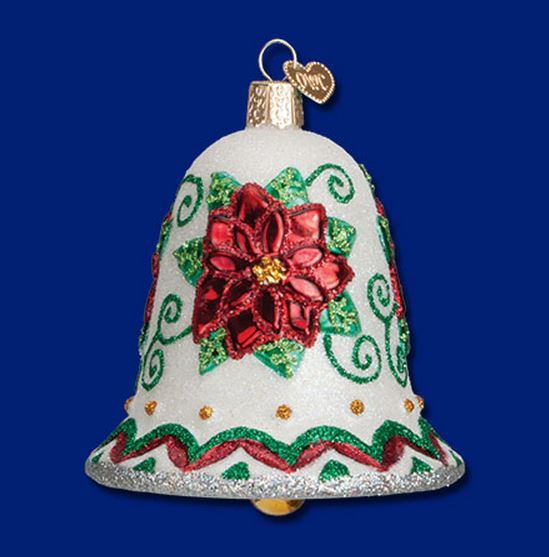 Old World Christmas Poinsettia Flower Bell Blown Glass Ornament 38041 FREE BOX