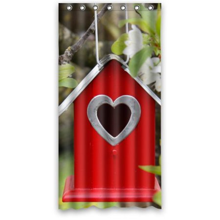 BPBOP Red Wood Birdhouse Heart Window Waterproof Bathroom Fabric Shower Curtain 36x72 Inches