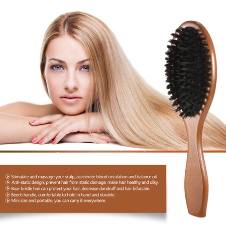 Natural Boar Bristle Hair Brush Comb Oval Anti-static Paddle Hair Extension Brush Scalp Massage Beech Wooden Handle (Hair Extension Brush)