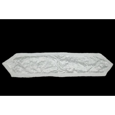 16  X 72  White Iridescent Swirl Sequined Christmas Table Runner With White Faux Fur Trim