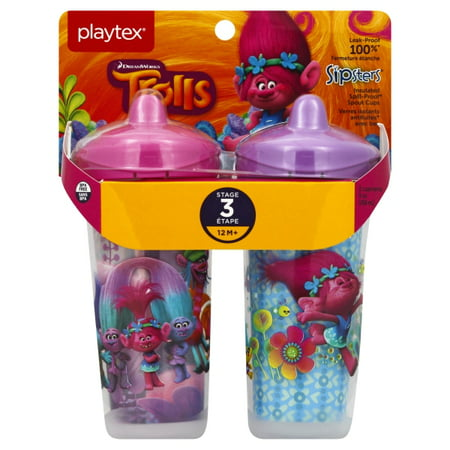 Playtex Sipsters Stage 3 Trolls Insulated Spout Sippy Cup, 9 Oz, 2 Pk (Colors May Vary)