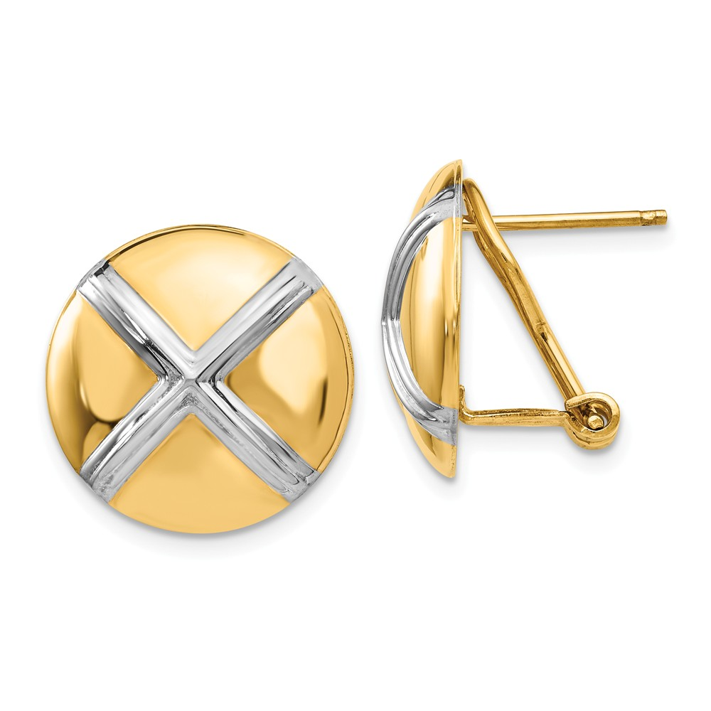 14k Yellow Gold Polished & Rhodium X Omega Back Post Earrings (0.6IN x 0.6IN )
