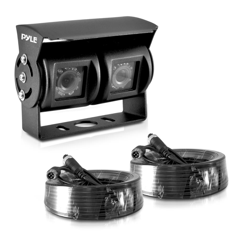 PYLE PLCMTR26 - Dual Weatherproof Rearview Backup Camera for Bus, Truck, Trailer and Van (IR Night Vision, Waterproof, Commercial Grade, DC 12-24V)