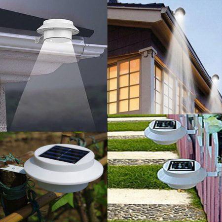 Solar Powered Outdoor Garden Light Gutter Fence Lamp 3 Led Lamp Energy Saving