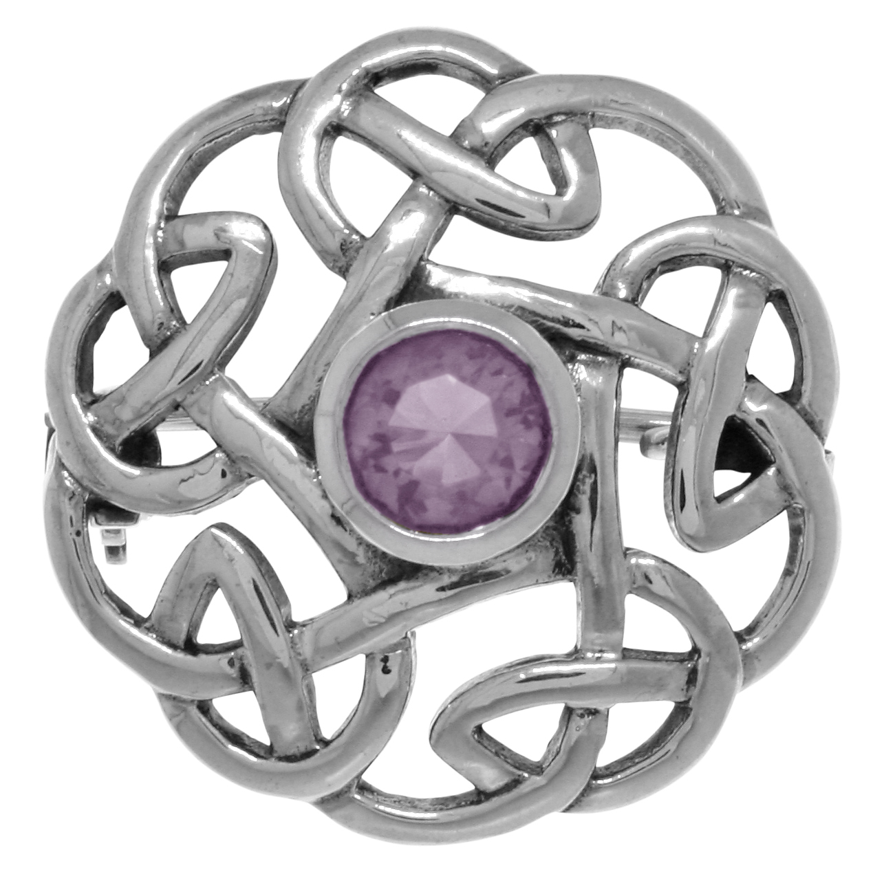 Jewelry Trends Sterling Silver Round Celtic Thistle Brooch Pin with Purple Amethyst by