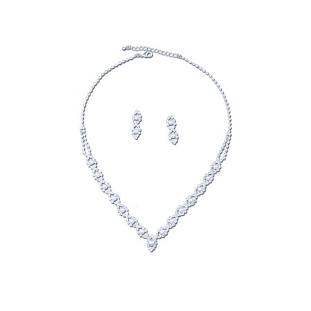 - Silver Crystal Rhinestone Marquise Formation with White Pearl Insert Necklace and Matching Drop Earrings Jewelry Set