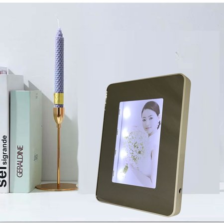 Frame and Mirror in One. Great Gift, Self use, Desk-top, Office, Shop, Room, Rectangular Lighted Mirrored Photoframe (5.11